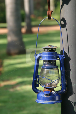 Blue storm Lantern stock photo, Hanging blue storm lantern by Sean Nel