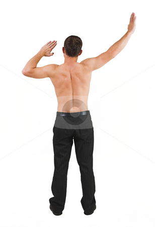 Tollie Booysen #35 stock photo, Businessman in black trousers, no shirt, hands up in the air by Sean Nel
