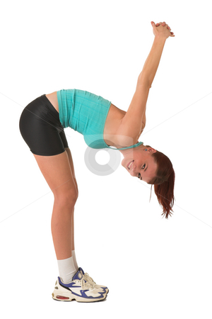 Gym #118 stock photo, Woman bending over, stretching. by Sean Nel
