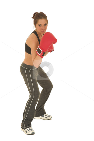 Boxer #12 stock photo, Brunette with red boxing gloves by Sean Nel