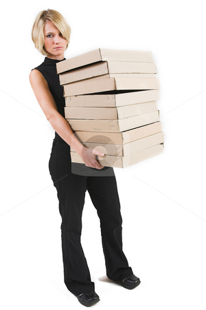 Business Lady #31 stock photo, Blond Business woman carrying boxes by Sean Nel