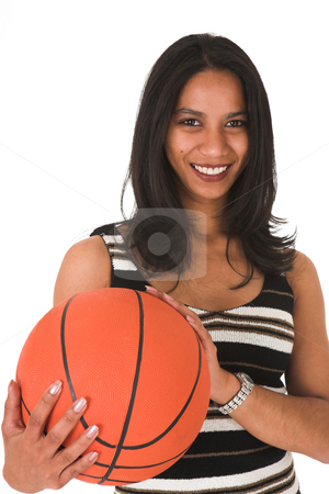 Young adult businesswoman stock photo, Beautiful young adult Indian businesswoman with dark skin and dark straight long hair, brown eyes and pink lips, wearing a black pencil skirt and striped top with stockings and black stilettos by Sean Nel