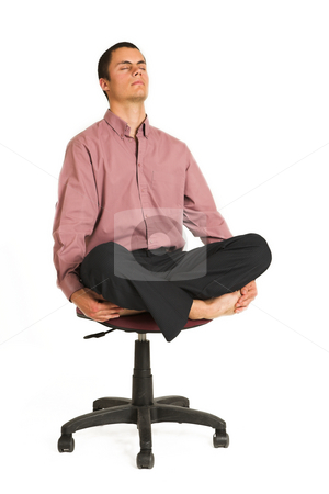 Business Yoga #180 stock photo, Business man fighting tension / relaxing / meditating by Sean Nel