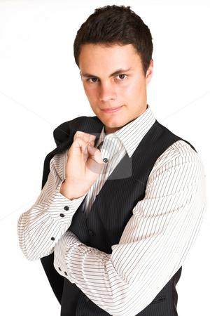 Businessman #114 stock photo, Businessman holding jacket.  Portrait. by Sean Nel