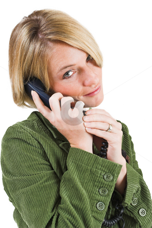 Heidi Booysen #17 stock photo, Business woman green jacket, talking  on the phone by Sean Nel