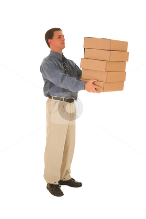 Businessman #97 stock photo, Man carrying boxes. by Sean Nel