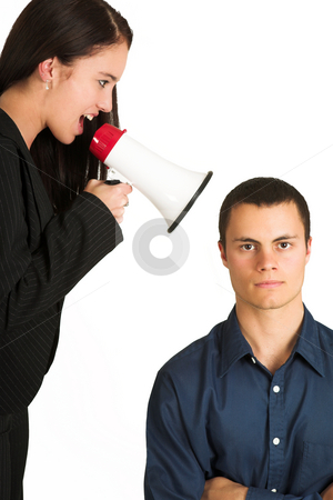 Business People #44 stock photo, A brunette woman  yelling at her male business partner over a microphone. by Sean Nel