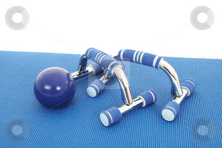 Fitness Equipment stock photo, Collection of fitness equipment on a soft yoga matt ? NOT ISOLATED by Sean Nel