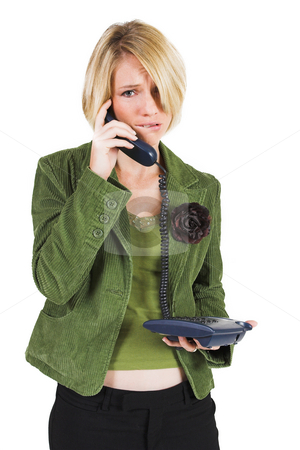 Heidi Booysen #7 stock photo, Business woman green jacket, talking  on the phone, looking stressed by Sean Nel