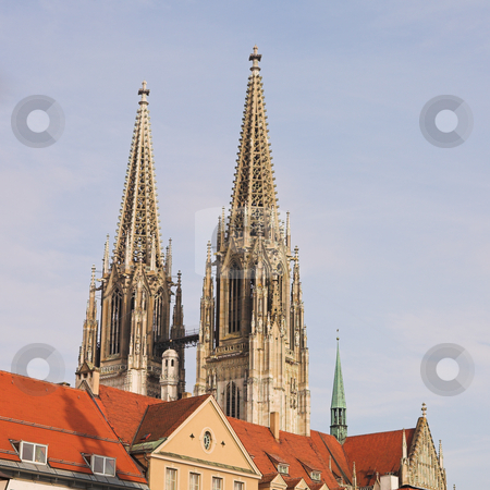 Spires of the Dom stock photo, Cathedral steeples of The Dom Cathedral in Regensburg, Germany during a sunny day in winter by Sean Nel