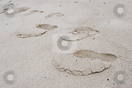Footprints #1 stock photo, Footprints in the sand by Sean Nel