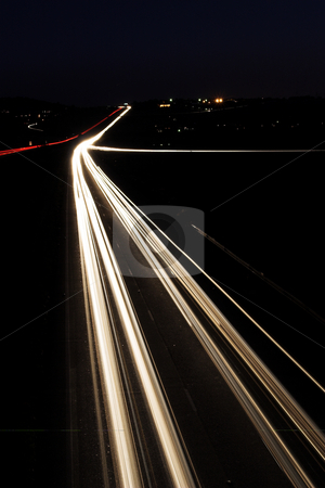 Roads #5 stock photo, Light trails on highway by Sean Nel