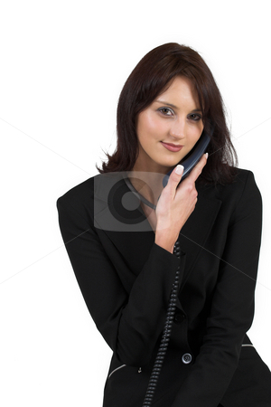 Luzaan Roodt #1 stock photo, Business woman in formal black suit, holding phone by Sean Nel