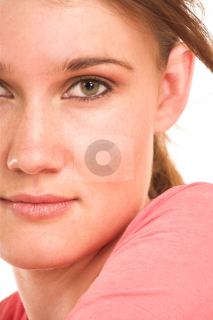 Business Woman #408 stock photo, Brunette business woman in  an informal light pink shirt.  Close-up.  Half face by Sean Nel