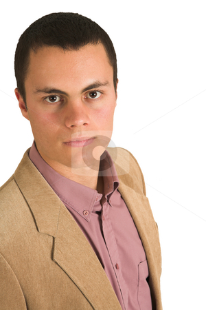 Businessman #200 stock photo, Businessman in a pink shirt and camel coloured jacket, looking seirous. by Sean Nel