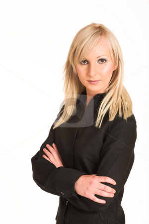 Business Woman #293 stock photo, Blond business woman dressed in black trousers and a black shirt.  Standing with arms crossed. by Sean Nel