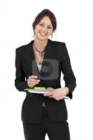Businesslady #78 stock photo, Dark haired business woman with post-it notes by Sean Nel