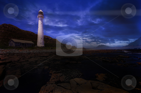 Lighthouse #2 stock photo, The Slangkop Lighthouse at Kommetjie, Western Cape. Digital Artwork by Sean Nel