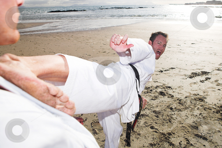 Karate Sportsmen stock photo, Young adult men practicing Karate on the beach. One is in a high kick on the chest of the other (some movement on the edges) by Sean Nel