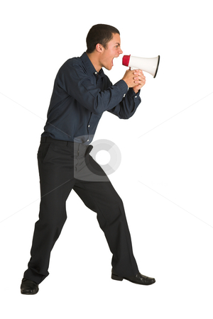 Businessman #221 stock photo, Businessman in a blue shirt, yelling. Screaming over a megaphone. by Sean Nel