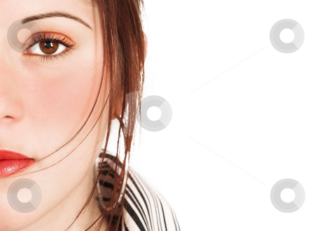 Face of a beautiful woman with saturated make-up stock photo, Close-up of the face of a beautiful brunette woman isolated on white  by Sean Nel