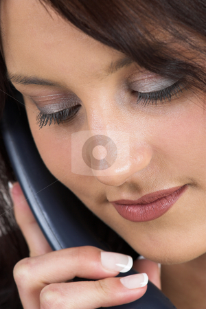 Business Lady #71 stock photo, Business woman with blue telephone by Sean Nel