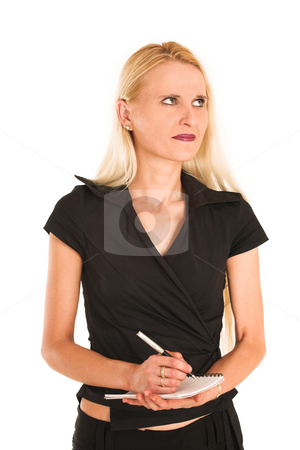 Businesswoman#372 stock photo, Blond Business Woman, thinking, writing on note pad by Sean Nel