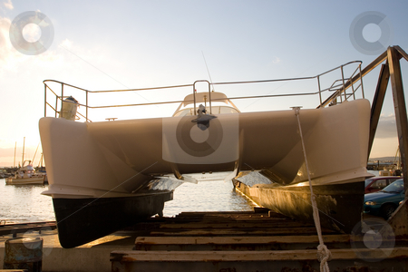 Cape Boat #6 stock photo, Catamaran on Drydock - Gordons bay, South Africa by Sean Nel