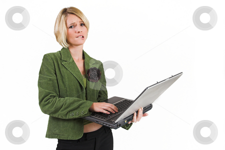 Business Lady #8 stock photo, Blond Business woman with notebook computer by Sean Nel