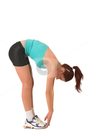 Gym #120 stock photo, Woman bending over touching toes. by Sean Nel