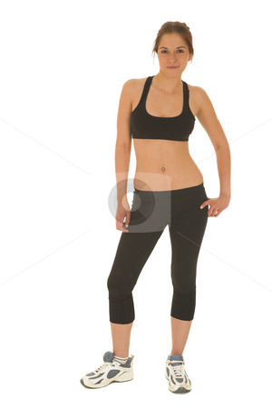 Gymbunny #12 stock photo, Brunette with black top and trainers by Sean Nel