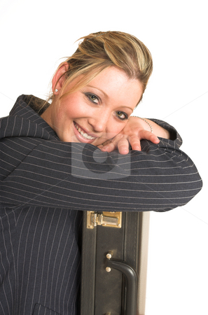 Laura Hopton #29 stock photo, Business woman leaning on suitcase by Sean Nel