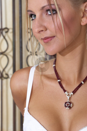 Lingerie #10 stock photo, Blonde Woman with red necklace in lingerie by Sean Nel