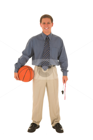 Business man stock photo, Man laughing with basket ball and whistle in his hands. by Sean Nel