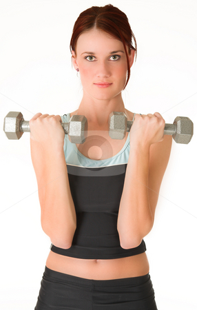 Gym #4 stock photo, A woman in gym clothes, holding weights. by Sean Nel