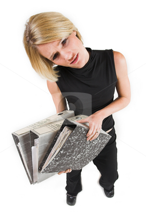 Business Lady #38 stock photo, Blond Business woman carrying files by Sean Nel
