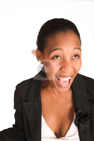 Mida Matsimela #15 stock photo, African business woman dressed in black jacket. Screaming. Movement by Sean Nel