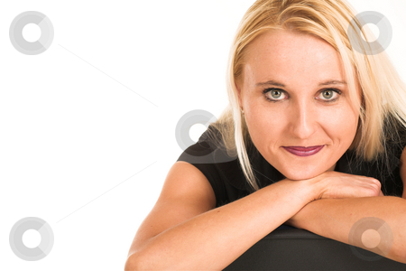Business Woman #379 stock photo, Blond business woman, dressed in a black clothes. Copy space by Sean Nel