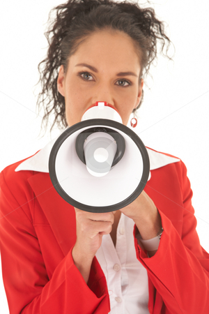 Beautiful Caucasian businesswoman stock photo, Portrait of a beautiful young Caucasian businesswoman with curly hair in an updo style talking over megaphone on white background. NOT ISOLATED by Sean Nel