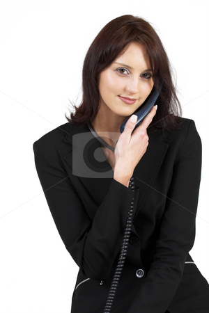 Business Lady #62 stock photo, Business woman with blue telephone by Sean Nel