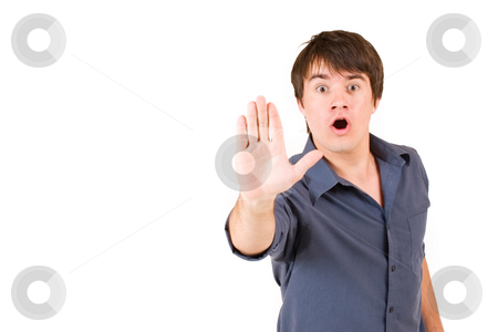 Businessman #56 stock photo, Businessman in blue shirt holding hand up - copy space, open mouth by Sean Nel