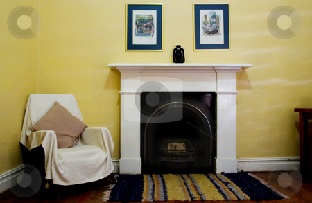 Interior #5 stock photo, Interior of living room with wooden floors and fireplace by Sean Nel