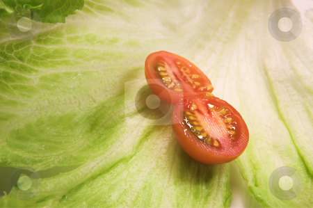 Food #35 stock photo, Cherry tomato on a leaf of lettuce. by Sean Nel