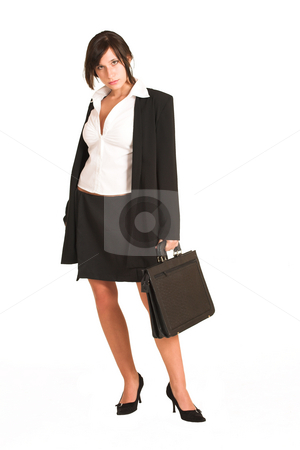 Business Woman #271 stock photo, Business woman dressed in a pencil skirt and jacket. Holding a black leather suitcase. by Sean Nel