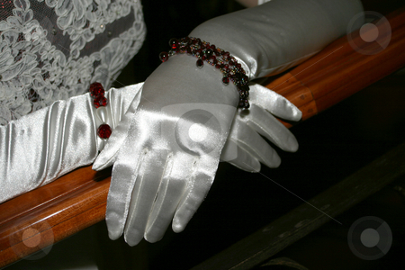 Silk Gloves stock photo, Silk gloves on a bannister by Sean Nel