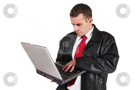 Businessman #47 stock photo, Business man standing with Notebook Computer by Sean Nel
