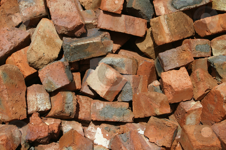 Red bricks stock photo, Discarded building material by Sean Nel