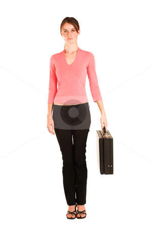 Business Woman #429 stock photo, Brunette business woman in  an informal light pink shirt.  Holding a black leather suitcase. by Sean Nel