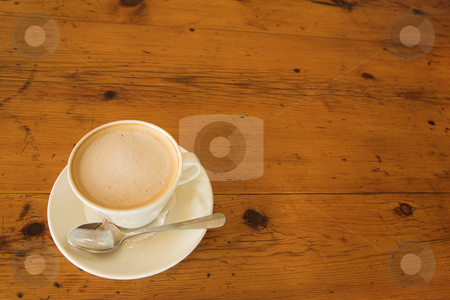 Lunch #35 stock photo, A cup of coffee on a wooden table by Sean Nel