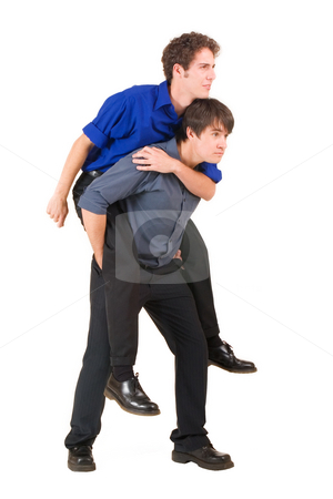 Business People #10 stock photo, Two business partners, the one is piggybacking the other by Sean Nel